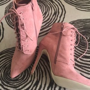 Blush Faux Lace-Up Suede Booties - New!